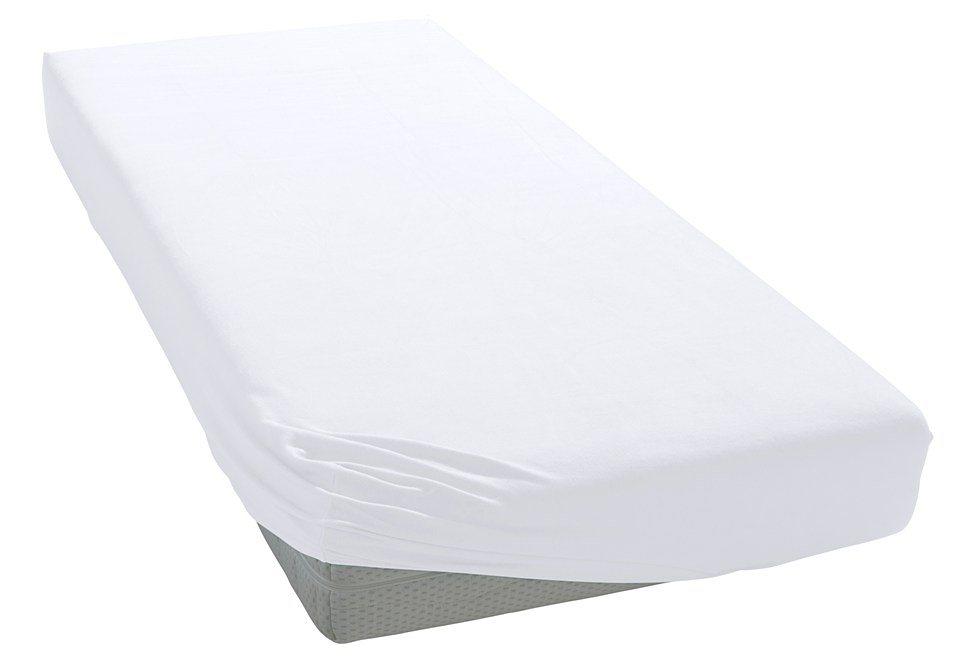 Spannbettlaken, Bellana, »Mako-Jersey«, geeignet für hohe Matratzen in weiß