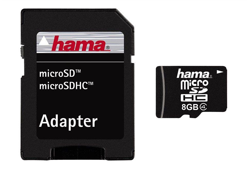 Hama Speicherkarte microSDHC 8GB Class 4 »inkl. SD Karten Adapter« in Schwarz