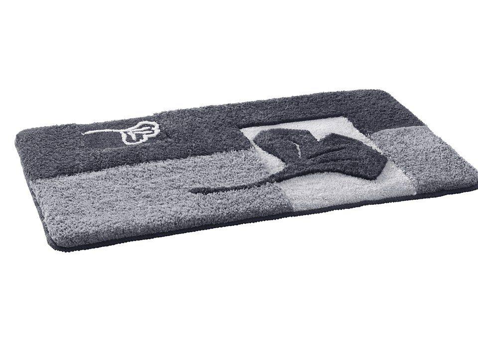 Badematte, my home, »Ginkgo«, Höhe 20 mm, rutschhemmender Rücken in silber
