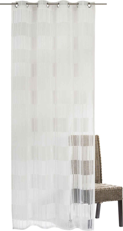 Gardine »Blockbuster«, ELBERSDRUCKE, Ösen (1 Stück), Ösenschal Blockbuster 00 weiß 255x140 cm halbtransparent