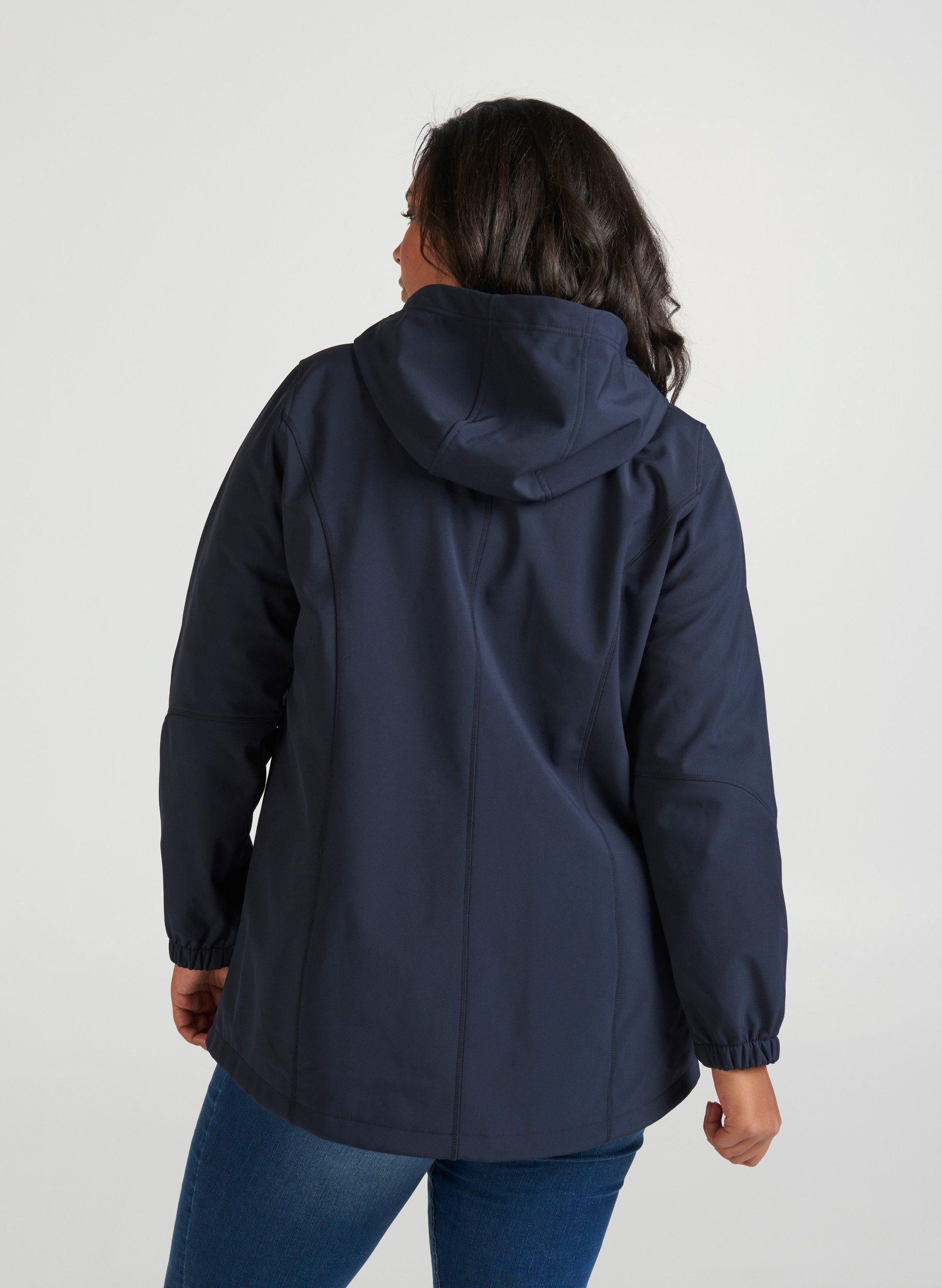 Zizzi Damen Große Größen Softshell Jacke mit Kapuze und