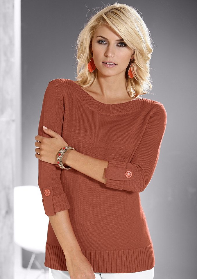 Collection L. Pullover in angesagter Optik in rostrot