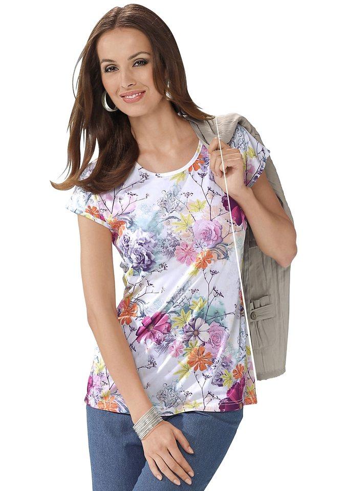 Classic Basics Shirt mit überschnittenen Schultern in weiß-bedruckt