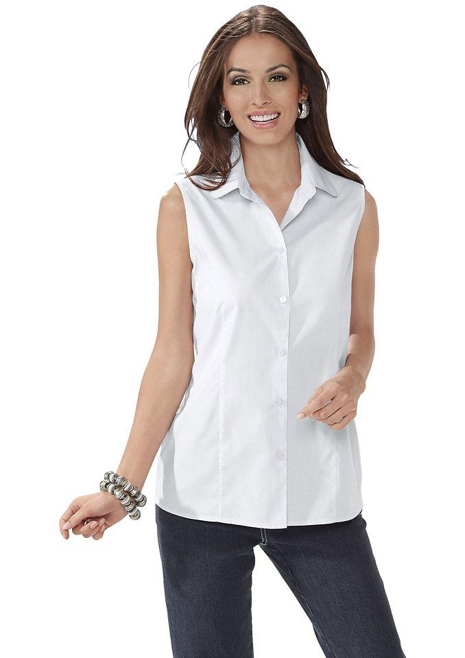 Classic Basics Bluse mit abgerundetem Hemdkragen in weiß