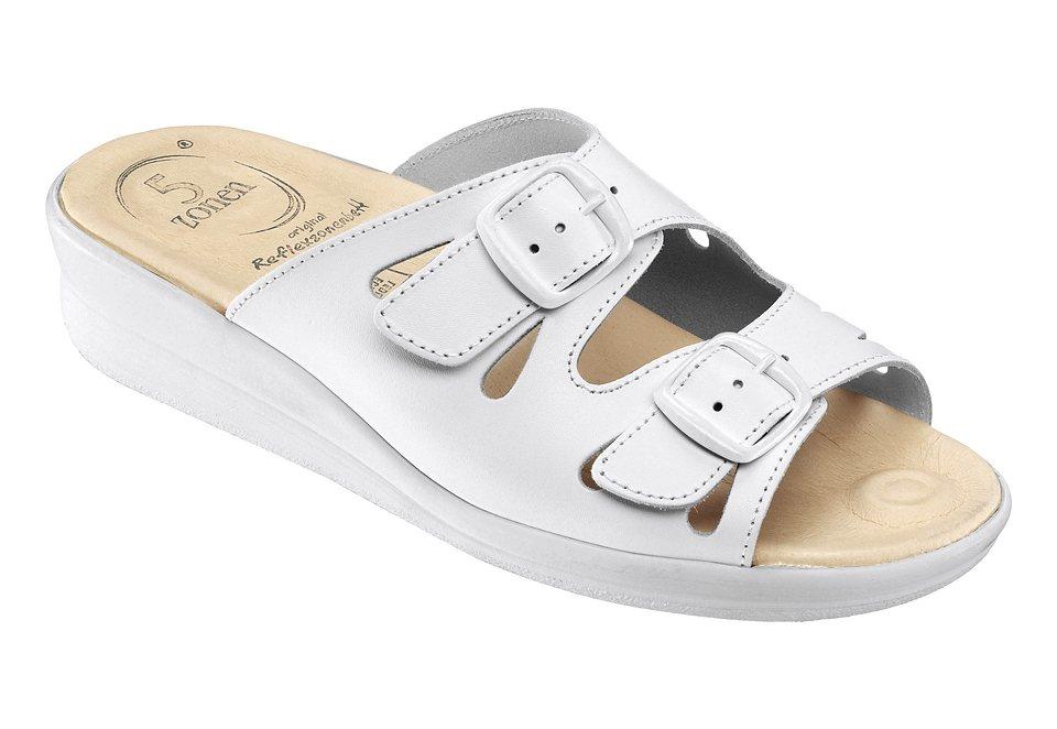 Pantolette mit 5-Zonen-Fußbett in weiß