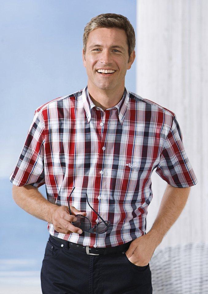 J.Witt collection Hemd mit sportivem Button-Down-Kragen in rot-kariert