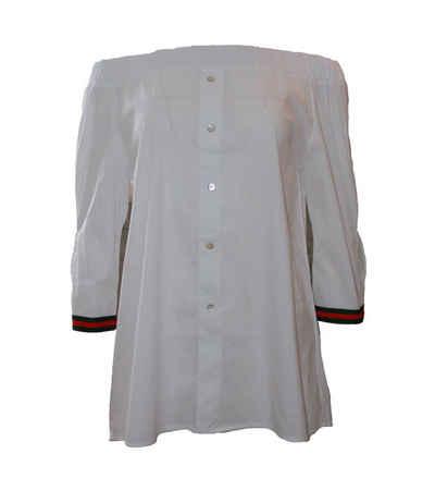 Liebesglück Carmenbluse »Liebesglück Carmen-Bluse modische Damen Sommer-Bluse mit gesmoktem Ausschnitt Tunika Weiß«
