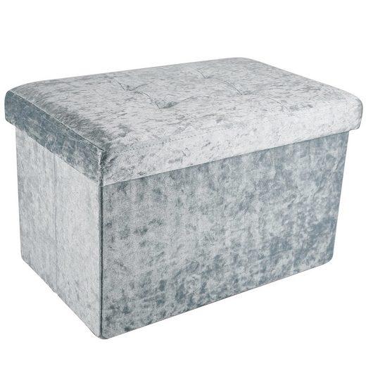 Intirilife Sitzbank, Faltbare Sitzbank 49x30x30 cm in Samt Blaugrau - Sitzwürfel mit Stauraum und Deckel mit Samtbezug