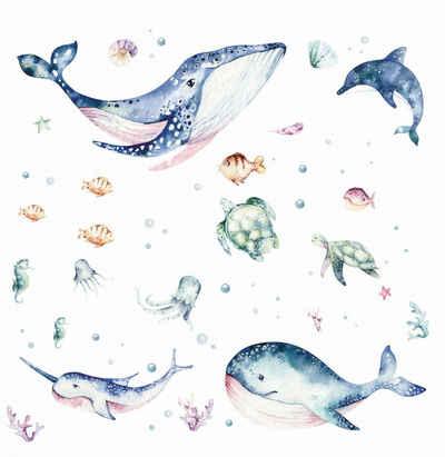 nikima Wandtattoo »205 Meerestiere Aquarell - Wal Delfin Schildkröten«, in 6 vers. Größen