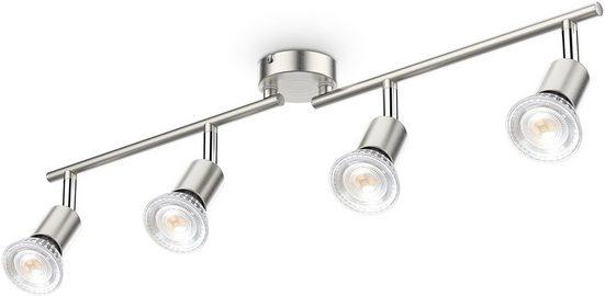 B.K.Licht Deckenleuchte, 4-flammige LED Deckenlampe, 4x 5W Leuchtmittel GU10, 4x 400lm, dreh- schwenkbar, IP20, 4000K neutralweiß, Matt-Nickel