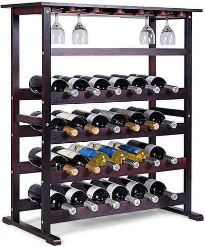 COSTWAY Weinregal »Flaschenregal Weinschrank Weinflaschenhalter«, für 24 Flaschen, mit Weinglashalter