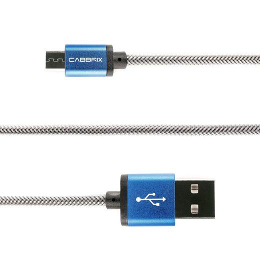 CABBRIX Smartphone-Kabel, Micro-USB, Micro-USB (1,5 Meter / 150 cm), Micro USB Kabel 1,5m Blau Nylon 2,4A [USB Schnellladekabel] High Speed/Ladekabel kompatibel mit Android Smartphones [OHNE VERSANDKOSTEN]