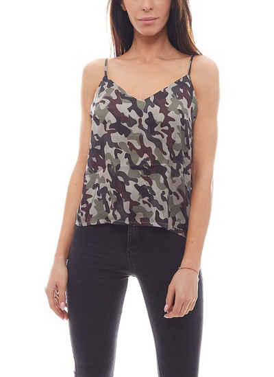 NA-KD Shirttop »NA-KD V-Auschnitt Top modisches Damen Top im Army Look Party-Top Camouflage«