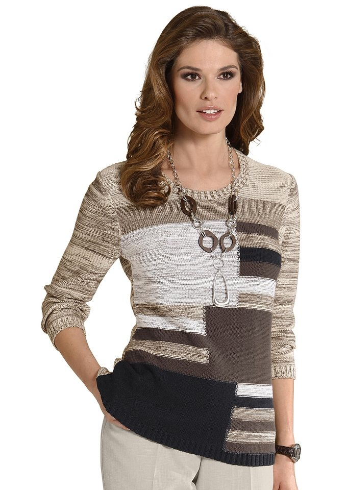 Classic Pullover in sand-gemustert