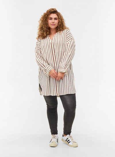 Zizzi Longshirt Große Größen Damen Hemdbluse aus Baumwolle mit Streifen und Brusttaschen