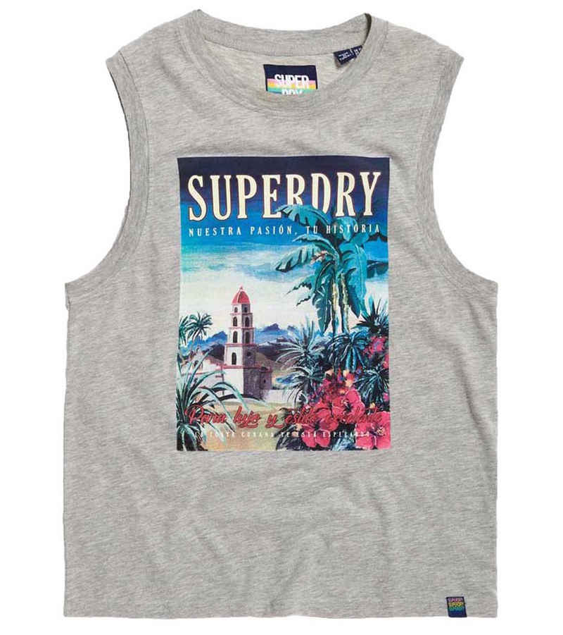 Superdry Tanktop »Superdry. Sun Island Tank-Top weiches Damen Sommer-Shirt mit Front-Print It-Piece Grau«