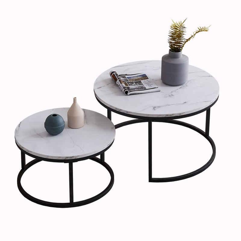 Fortuna Lai Couchtisch »Satztische,Beistelltisch,Kaffeetisch«, 2 in 1 Verschachtelung, Großer Tisch: 80X80X45cm, Kleiner Tisch: 60X60X33cm