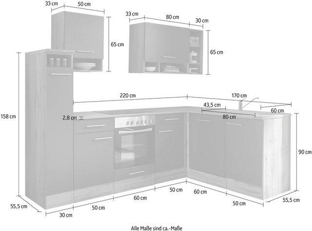 Einbauküchen - RESPEKTA Winkelküche »Lübeck«, mit E Geräten, Stellbreite 250 172 cm  - Onlineshop OTTO