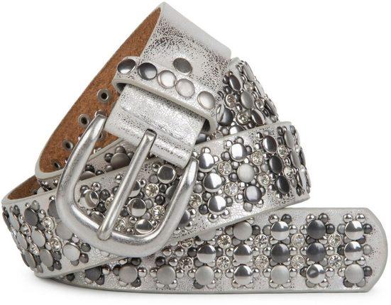 styleBREAKER Nietengürtel »Gürtel mit verschiedenen Nieten und Strass« Gürtel mit verschiedenen Nieten und Strass