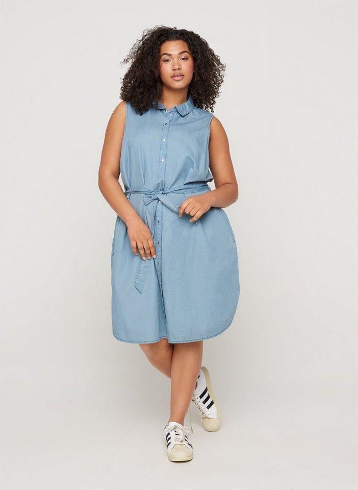 zizzi -  Jeanskleid Große Größen Damen Ärmelloses Baumwollkleid mit Knöpfen