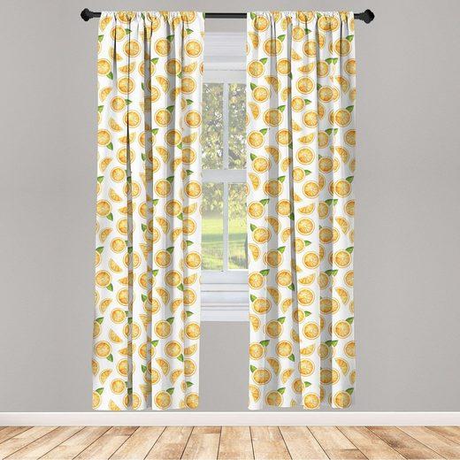 Gardine »Fensterbehandlungen 2 Panel Set für Wohnzimmer Schlafzimmer Dekor«, Abakuhaus, Orange Aquarell Fruchtscheiben