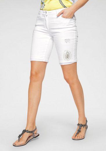 Sportalm Kitzbühel Shorts mit Destroyedeffekten und glänzenden Verzierungen