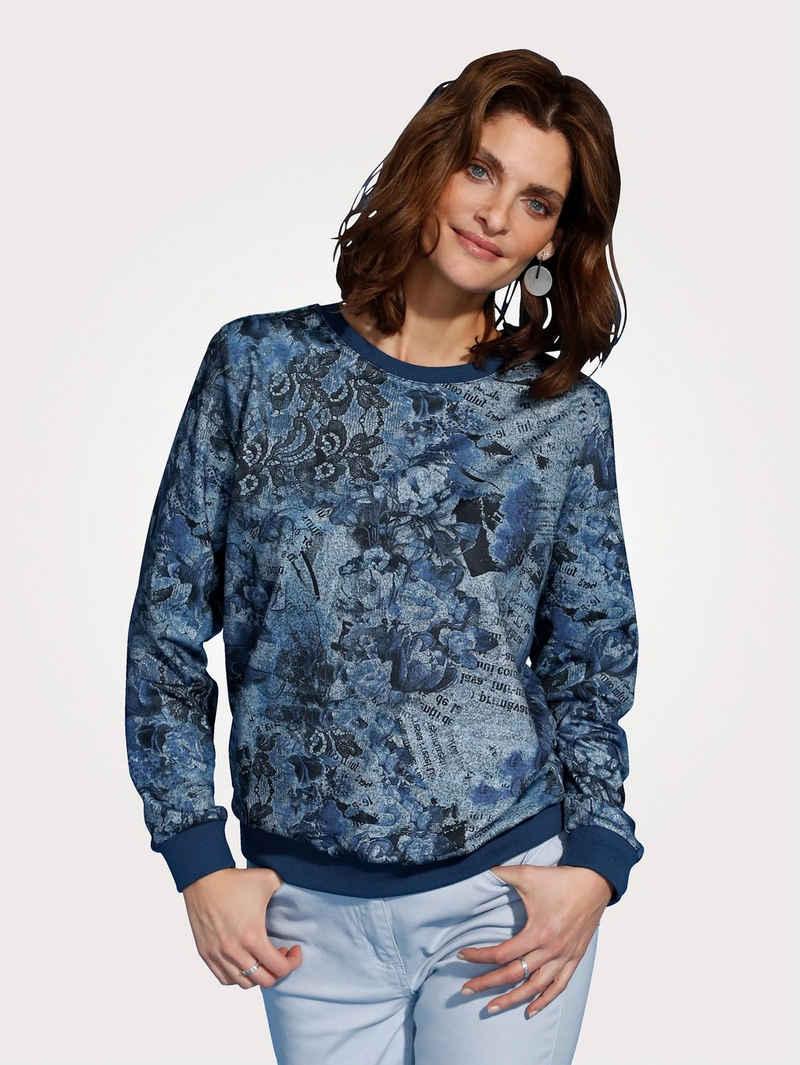 Mona Langarmshirt mit floralem Druck in Jeansoptik