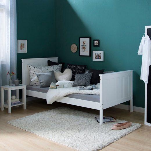 Homestyle4u Holzbett »Jugendbett 90 x 200 cm weiß Einzelbett«, mit Lattenrost, Kopf- und Fußteil