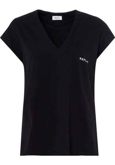 Replay T-Shirt mit glänzendem Foliendruck auf der Rückseite