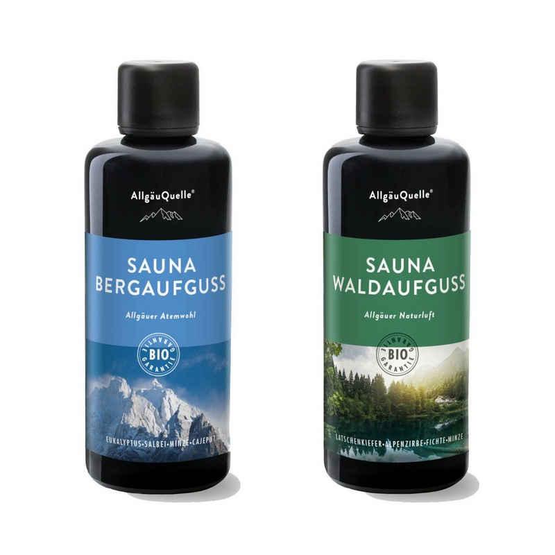 Allgäuquelle Wellness-Pflegeset, AllgäuQuelle Saunaaufguss-Set mit 100% BIO Sauna Aufgussmittel 2x100ml Zwei Saunaaufgüsse enthalten Das Sauna Zubehör Sauna aufguss in 2 Düften Bio-Saunaöl-Set Erlebe das Bio-Saunaduft Set
