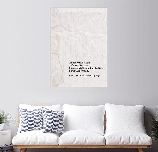 Posterlounge Wandbild, Premium-Poster Man sieht nur mit dem Herzen gut (Französisch)