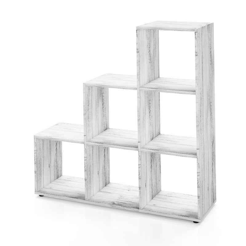 Vicco Stufenregal »Treppenregal 6 Fächer Grau Beton - Raumteiler Stufe Bücherregal Aktenregal«