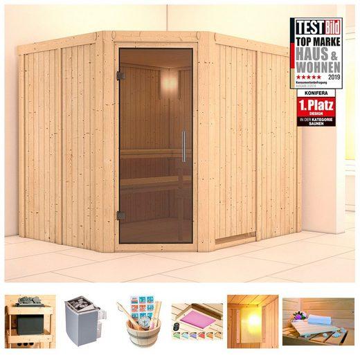 KONIFERA Sauna »Oliv 4«, 231x196x198 cm, 9 kW Ofen mit int. Strg., Glastür graphit