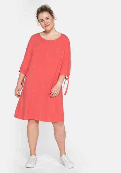 Sheego Jerseykleid mit gerafften 3/4-Ärmeln und Bindeband