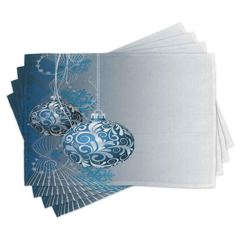 Platzset, »Waschbare Stoff Esszimmer Küche Tischdekorations Digitaldruck«, Abakuhaus, (4-teilig, 4 Teilig-St., Set aus 4x), Weihnachten Schneeflockemotiven Strudel
