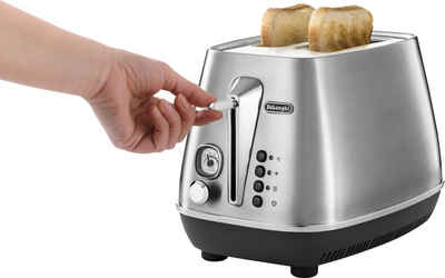 De'Longhi Toaster Distinta X CTI2103.M, 2 kurze Schlitze, 900 W, mit Brötchenaufsatz, im Retro Look, Edelstahl