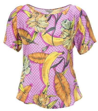 Frogbox Blusentop »Frogbox Satin-Bluse luftig lockeres Damen Blusen-Shirt mit Bananen-Print Freizeit-Shirt Bunt«