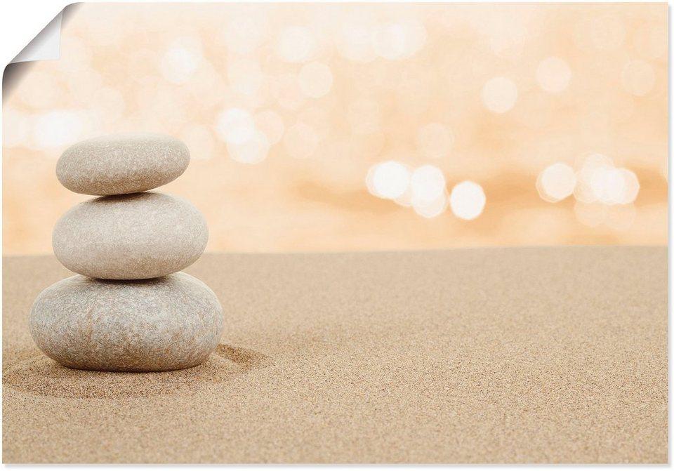 artland wandbild »zen steine im sand«, zen (1 stück