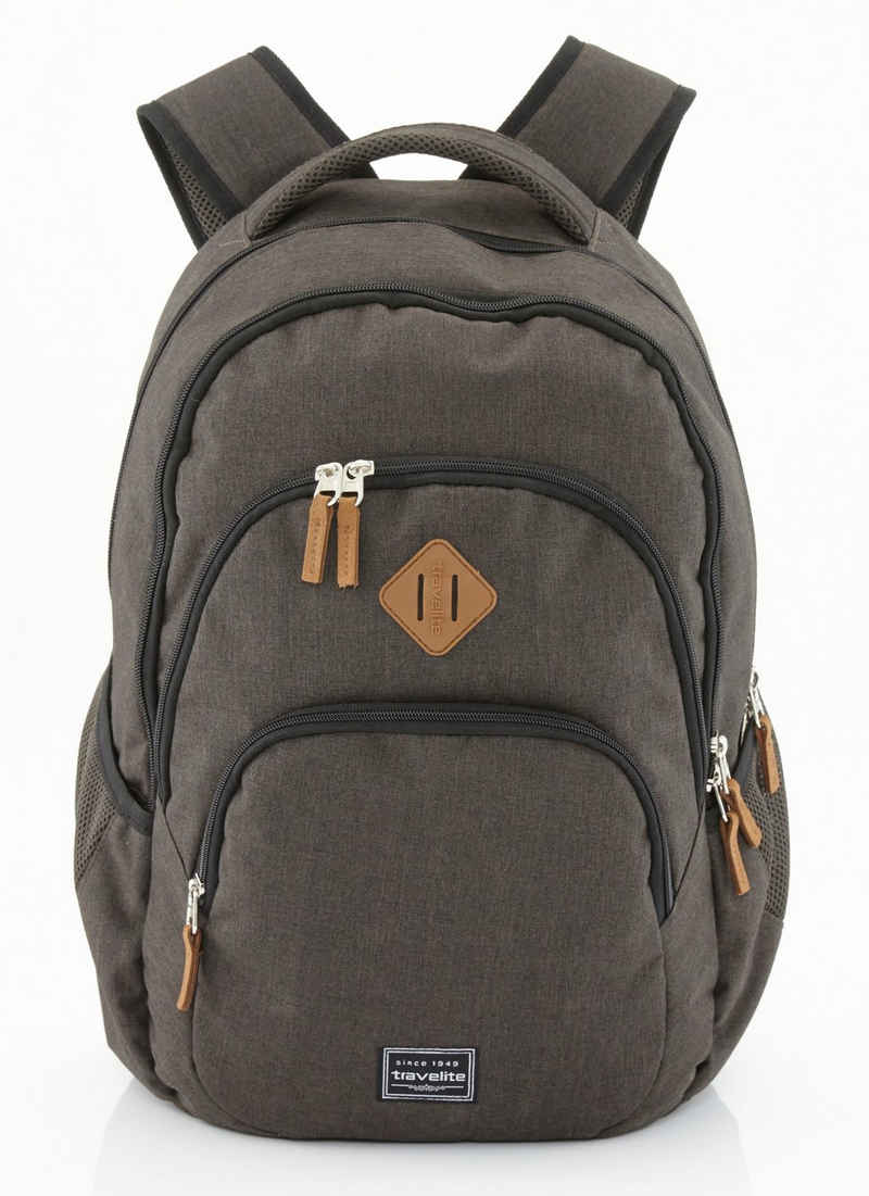travelite Cityrucksack »Basics Melange, braun«, mit Laptopfach
