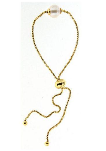 Firetti Silberarmband »in Venezianerkettengliederung, vergoldet, massiv, rund, feminin, zeitlos«, mit Süßwasserzuchtperle, Made in Germany