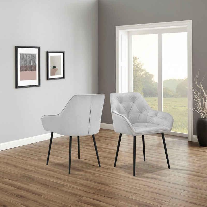 andas Armlehnstuhl »Betty« (Set, 2 Stück), im 1er und 2er Set erhältlich, mit weichem Samtvelours Bezug, mit zwei unterschiedlichen Beinfarben schwarz und eichefarben auswählbar, Sitzhöhe 49 cm
