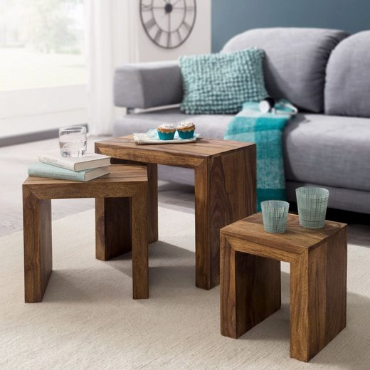 Wohnling Couchtisch »WL1.205«, 3er Set Satztisch MUMBAI Massiv-Holz Sheesham Wohnzimmer-Tisch Landhaus-Stil Beistelltisch dunkel-braun Naturholz