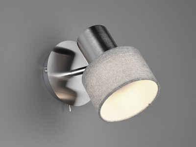 meineWunschleuchte LED Wandstrahler, innen, Designer Wand-Lampe mit Stoff Lampen-schirme grau, einflammig, Spots schwenkbar, Schalter, Lese-Lampe