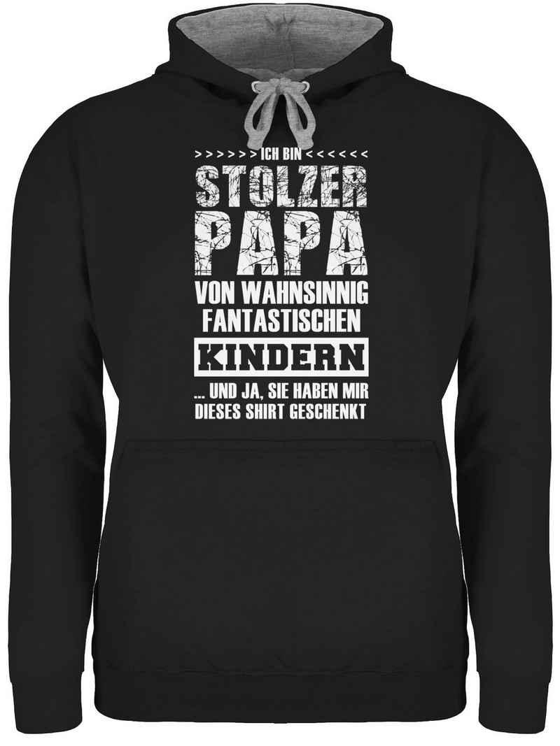 Shirtracer Hoodie »Stolzer Papa Fantastische Kinder - Papa und Vater Geschenk - Unisex Damen & Herren Kontrast Hoodie« Vatertag Geschenke für Männer