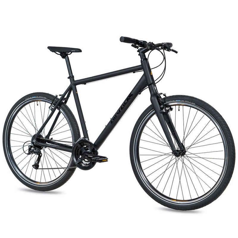 Airtracks Cityrad »Herren City Fahrrad 28 Zoll Urban Bike UR.2830«, 24 Gang SHIMANO ACERA, Kettenschaltung, Schwarz Matt - Rahmenhöhen 52cm & 56cm » Modeljahr 2021 «