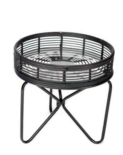 Cosy Home Ideas Beistelltisch »Beistelltisch rund Rattan schwarz Metall« (1 Stück), aus Rattan Geflecht