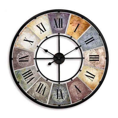 K&L Wall Art Wanduhr »Große Vintage Metall Wanduhr 80cm Retro Uhr« (Used Look Metalluhr mit römischen Ziffern, leises Quarz Uhrwerk, für Wohnzimmer und Küche)