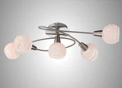 TRANGO LED Deckenleuchte, 5-flammig 1001-52D LED Deckenleuchte *OLIVIA* inkl. 5x 3-Stufen dimmbar LED Leuchtmittel 3000K warmweiß I Deckenlampe in Edelstahl-Optik mit Design Gläsern, Deckenstrahler, Wohnzimmer Lampe, Spots