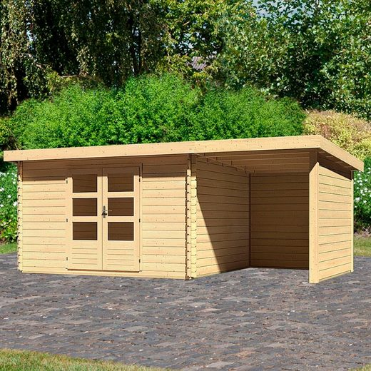 WOODFEELING Set: Gartenhaus »Bastrup 7«, BxT: 575x333 cm, mit Anbaudach