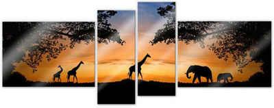 Wall-Art Mehrteilige Bilder »Afrikanische Sonne (4-teilig)«, (Set, 4 Stück)